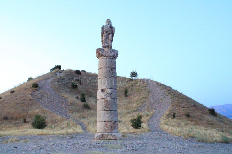 土耳其语,Adiyaman,7月15日,- 2019年:Adiyaman Karakus小山历史地方 免版税图库摄影