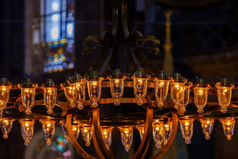 土耳其,伊斯坦布尔, 21,07,2018圣索非亚大教堂内部建筑学 库存照片