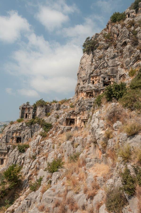 土耳其,没药,在山的Lycian埋葬 库存照片