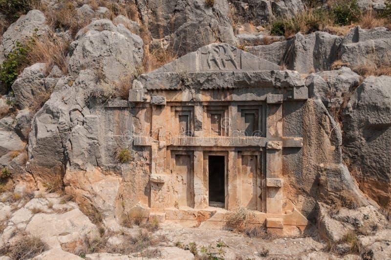 土耳其,没药,在山的Lycian埋葬 库存图片