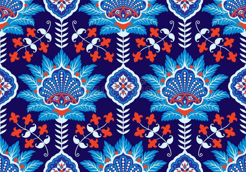 土耳其,阿拉伯,非洲,伊斯兰教的奥斯曼帝国` s时代传统无缝的陶瓷砖,花卉墙纸传染媒介 库存例证