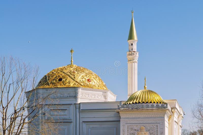 土耳其浴亭子的金黄圆顶凯瑟琳的停放 免版税图库摄影