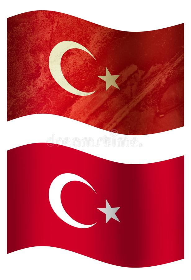 土耳其3D国旗,两个样式 皇族释放例证