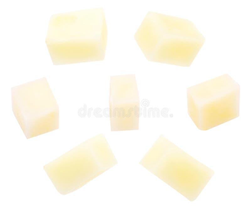 土豆切开了成立方体切成小方块 免版税库存图片