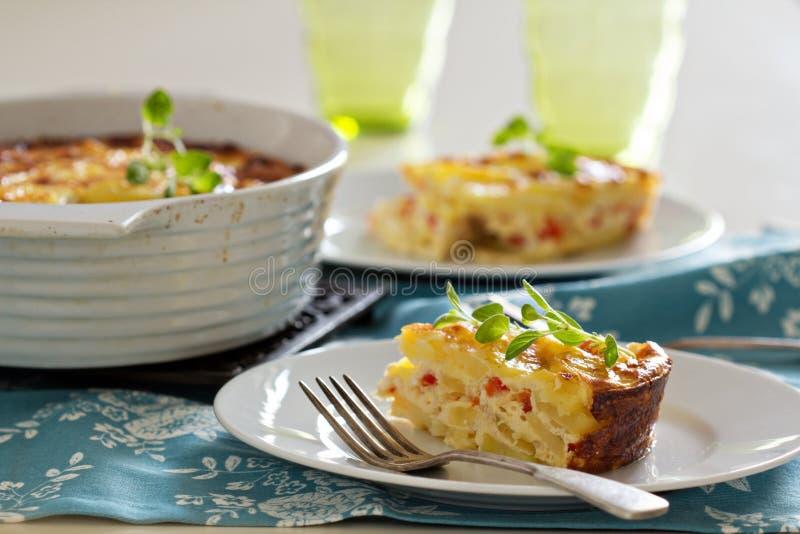 土豆和胡椒早餐焦干酪 图库摄影