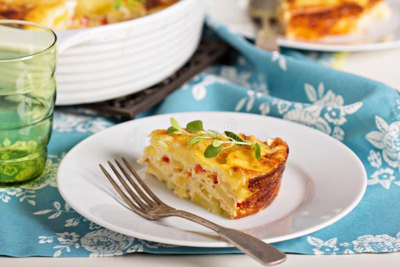 土豆和胡椒早餐焦干酪 库存照片
