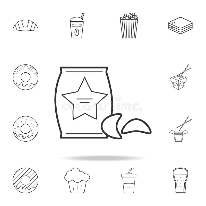 土豆片线象 详细的套快餐象 优质质量图形设计 其中一个网站的汇集象, 皇族释放例证