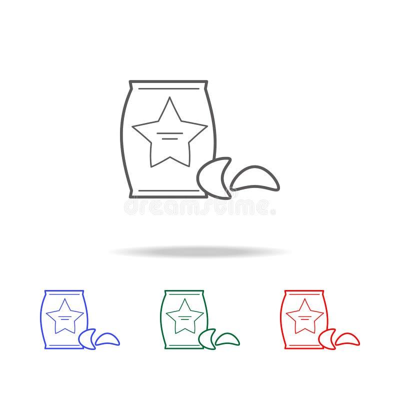 土豆片象 快餐多种族分界线象的元素 优质质量图形设计象 网站的简单的象, 皇族释放例证