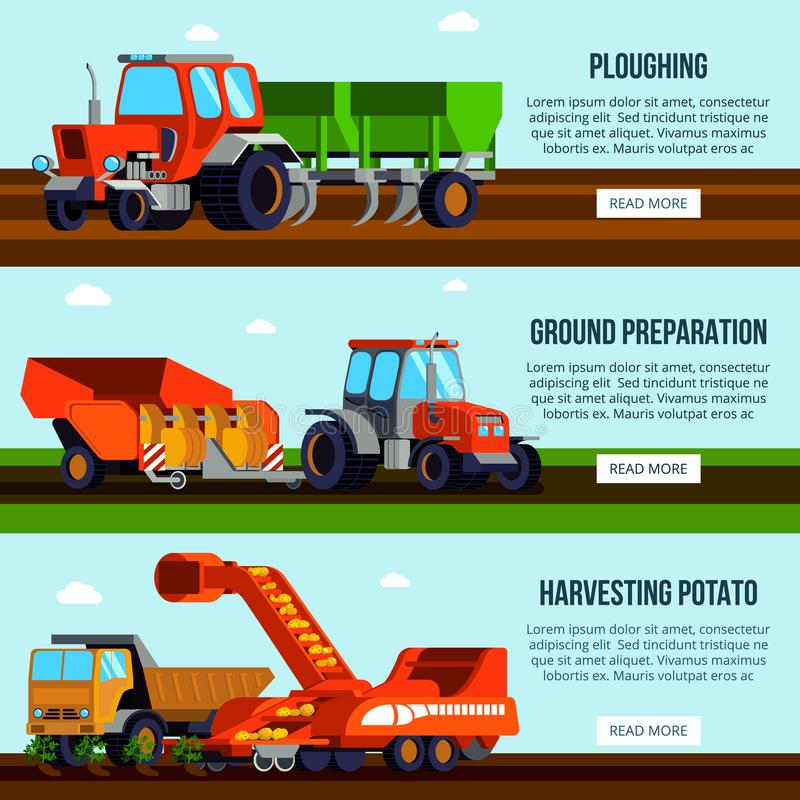 土豆耕种平的横幅 库存例证