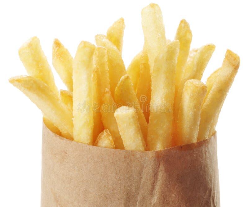 土豆-在白色背景的炸薯条 库存照片