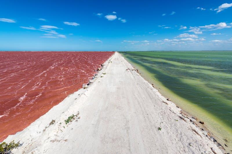 土路和五颜六色的水 免版税库存图片
