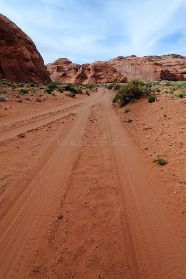 土路在沙漠 库存图片