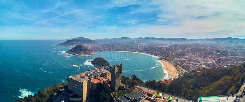圣・萨巴斯蒂安全景鸟瞰图  Donostia西班牙 库存图片