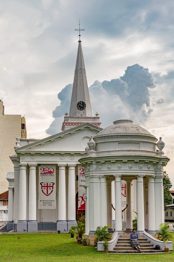 圣乔治教会在乔治城,槟榔岛,马来西亚 库存照片