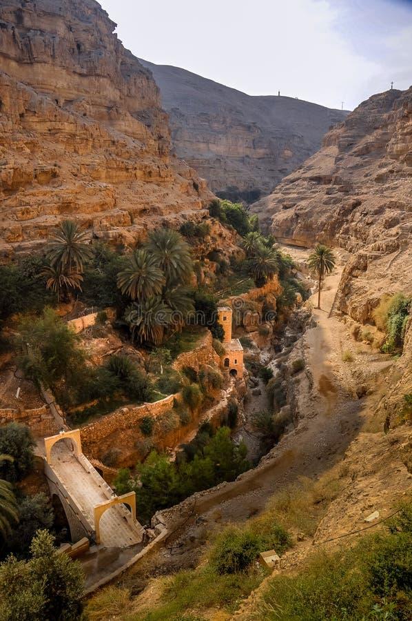 圣乔治正统修道院更低的谷的Kelt在巴勒斯坦当局的Judean沙漠 库存照片