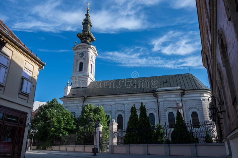 圣乔治正统大教堂在诺维萨德,塞尔维亚 免版税库存照片