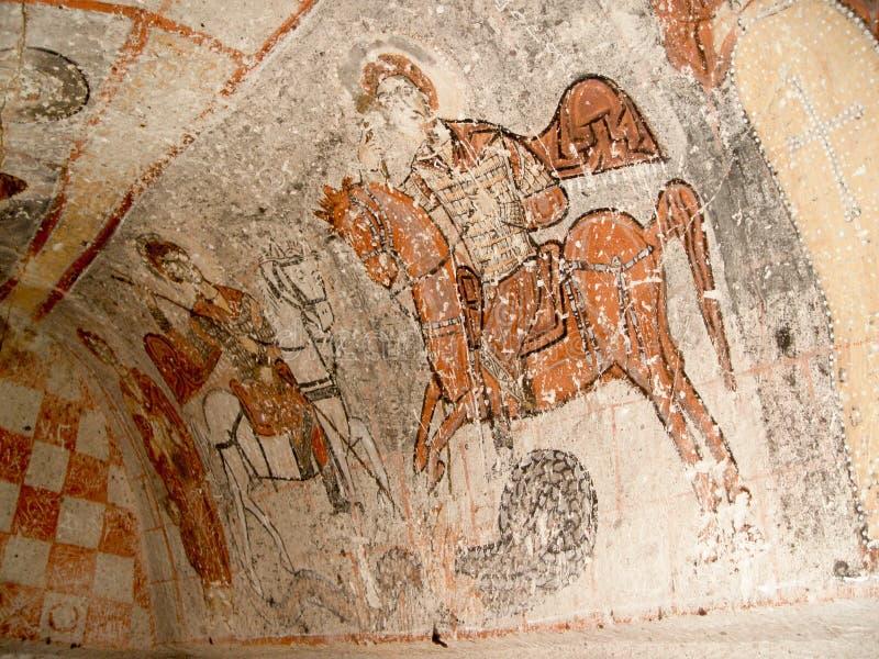 圣乔治壁画在教会里在Goreme,卡帕多细亚 免版税库存照片