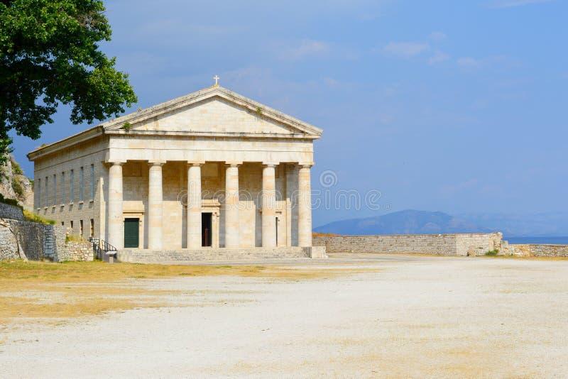 圣乔治教会老堡垒的在科孚岛海岛, Gr上 免版税库存图片
