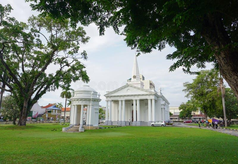 圣乔治的教会在槟榔岛 库存图片