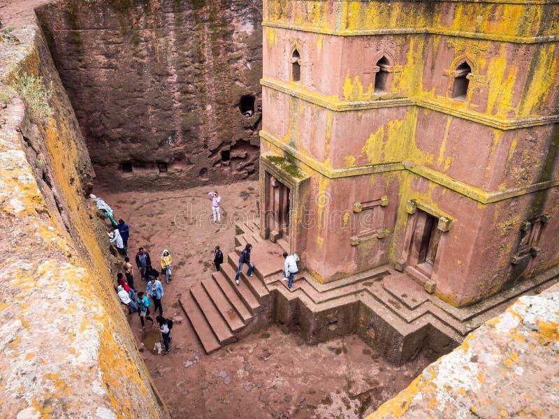 圣乔治,拉利贝拉,埃塞俄比亚教会  免版税图库摄影