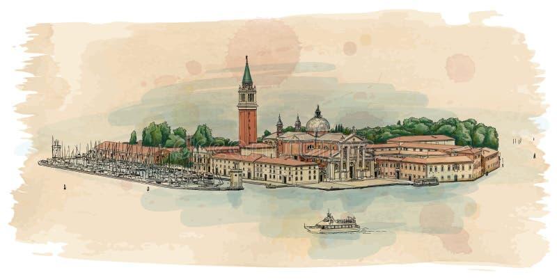 圣乔治Maggiore海岛  皇族释放例证