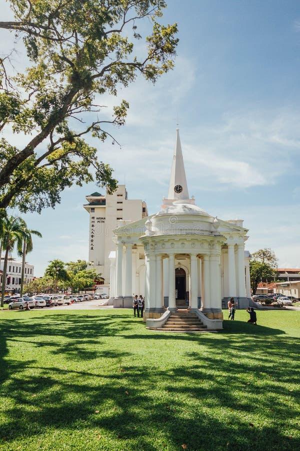 圣乔治` s教会是19世纪英国国教的教堂在市乔治市在槟榔岛,马来西亚 免版税库存照片