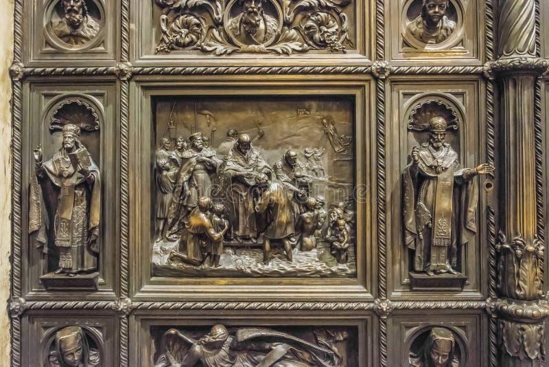 圣以撒的大教堂,圣彼德堡,俄罗斯室内装饰  库存图片