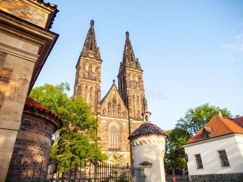 圣伯多禄和保罗大教堂Vysehrad复合体的,布拉格,捷克 免版税图库摄影