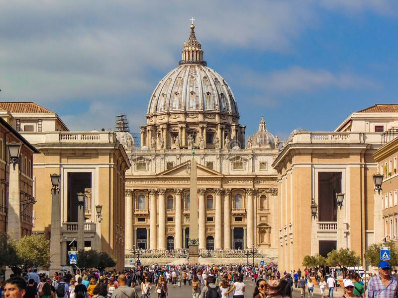 圣伯多禄大教堂,梵蒂冈-罗马,意大利 图库摄影