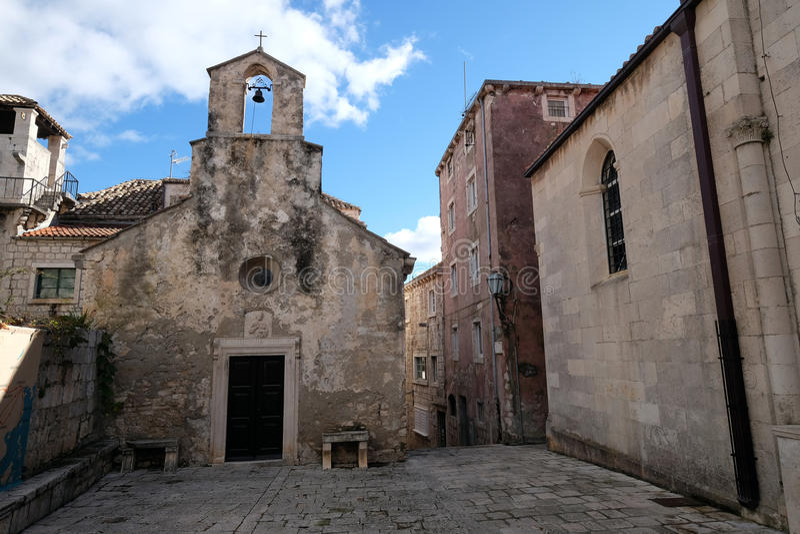 圣伯多禄教会在老镇Korcula,克罗地亚 图库摄影