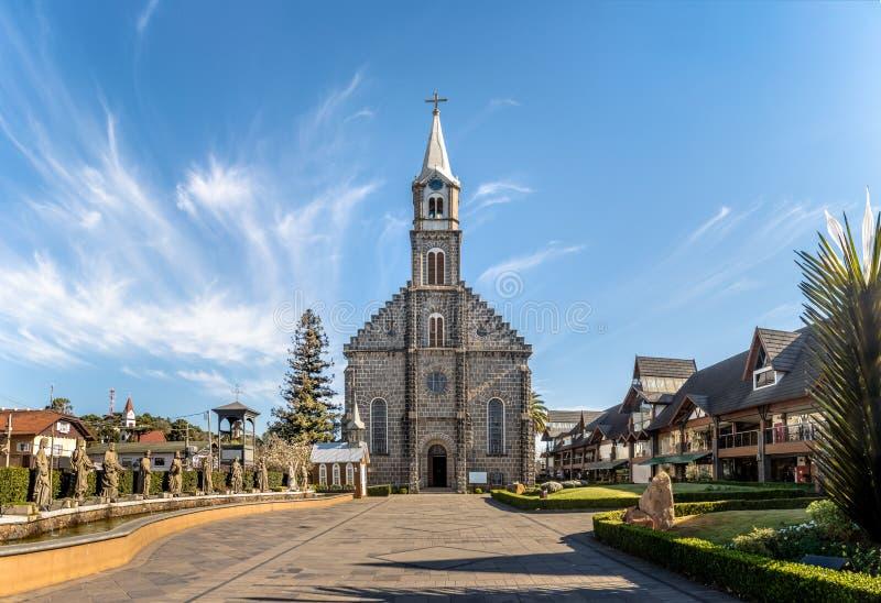圣伯多禄石头教会- Gramado,南里奥格兰德州,巴西 库存图片