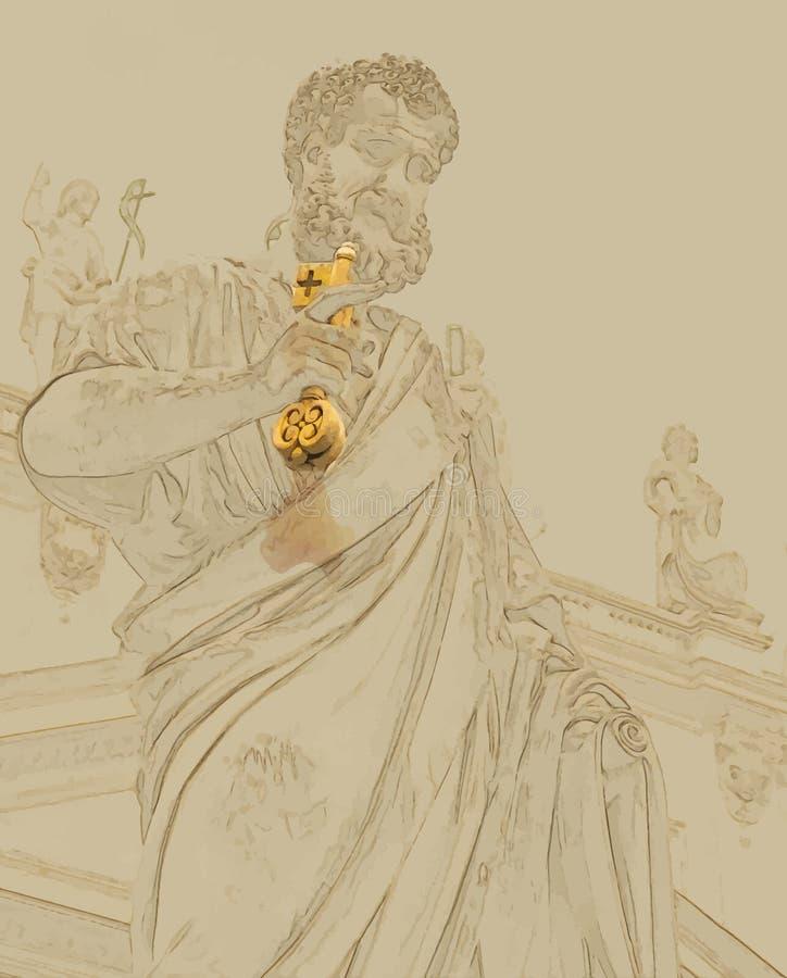 圣伯多禄雕象梵蒂冈的 向量例证