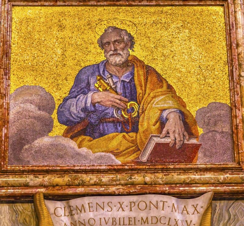 圣伯多禄马赛克圣伯多禄` s大教堂梵蒂冈罗马意大利 图库摄影