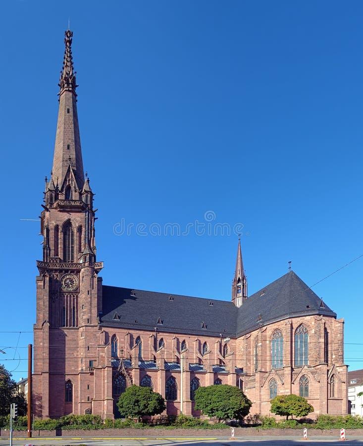 圣伯纳德天主教会在卡尔斯鲁厄,德国 库存图片