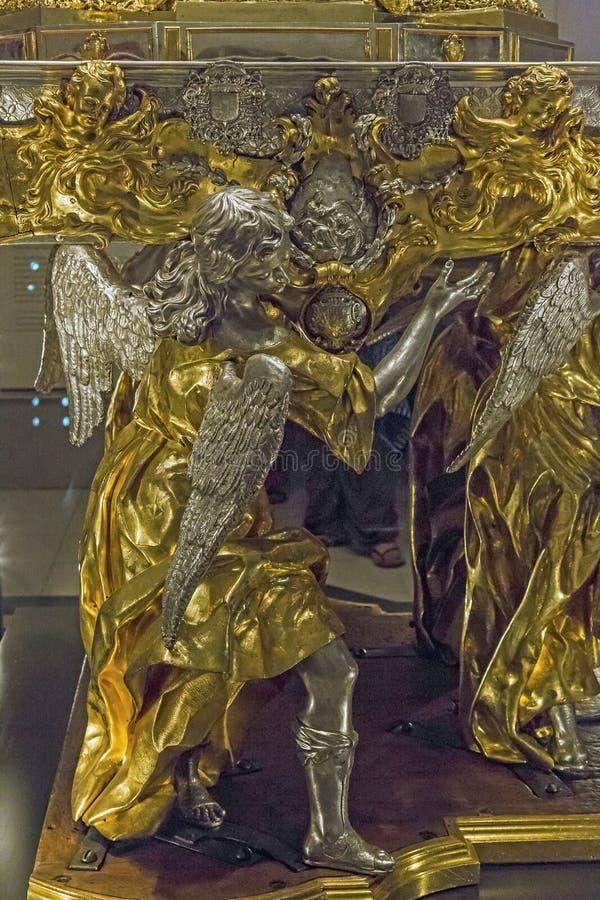 圣体匣的片段在Toled大教堂财宝的  免版税库存图片