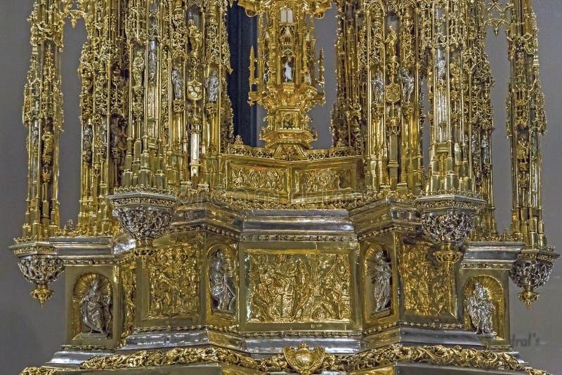 圣体匣的片段在Toled大教堂财宝的  免版税库存照片