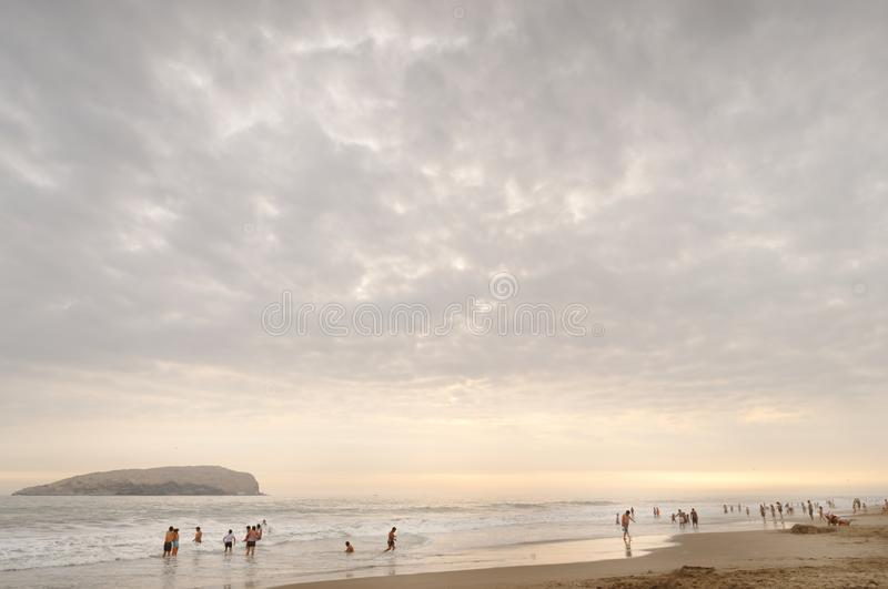 圣佩德罗,利马,秘鲁:海滩反射 图库摄影