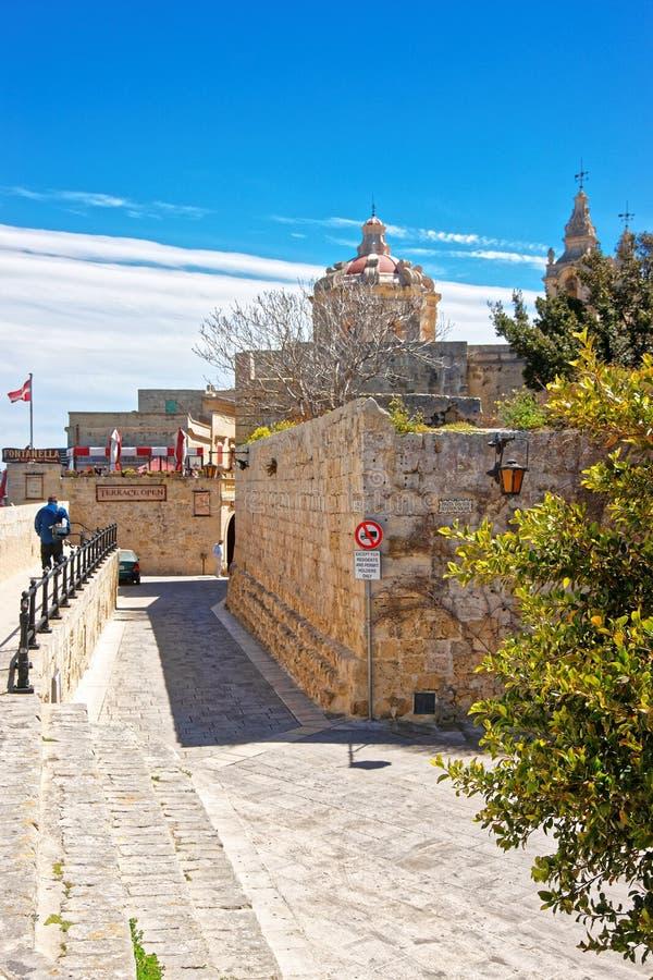 圣保罗大教堂和入口的人们到姆迪纳马耳他里 免版税库存图片
