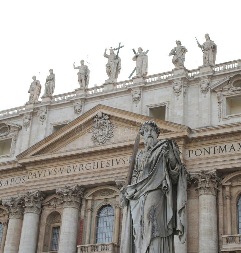 圣保罗大雕象有剑的在梵蒂冈 免版税图库摄影