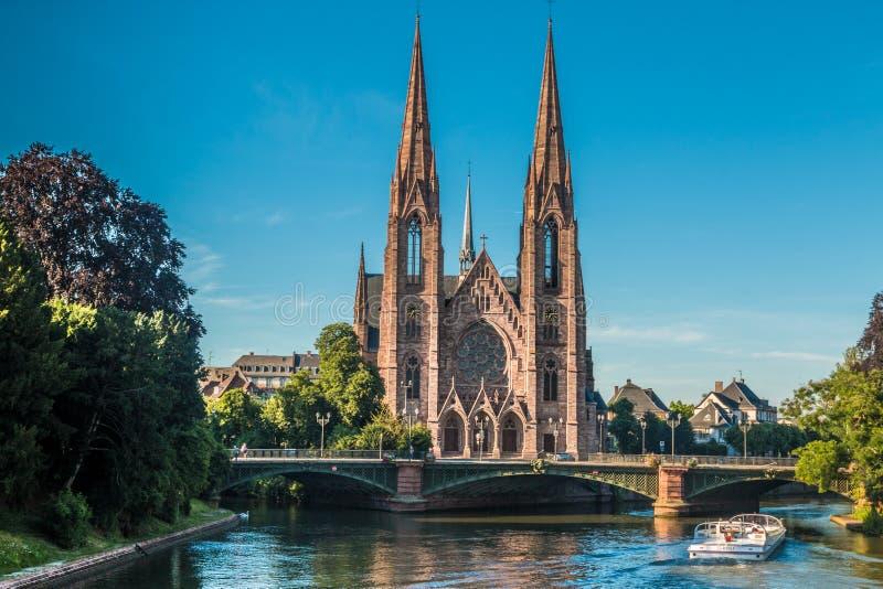 圣保罗教会在史特拉斯堡在法国 库存照片