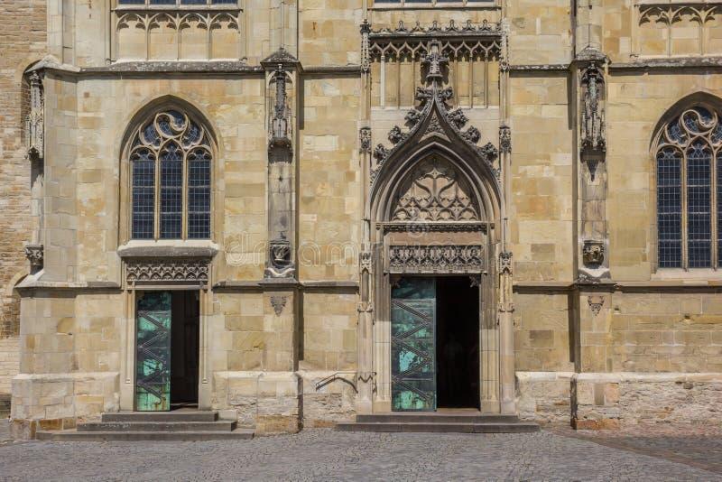 圣保罗斯Dom的前面在芒斯特的历史中心 免版税库存图片