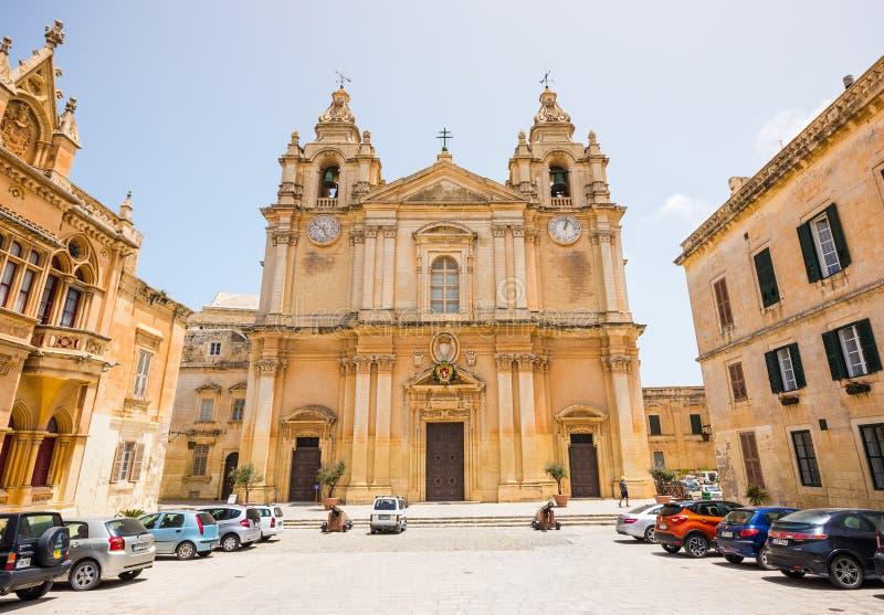 圣保罗的大教堂在市姆迪纳 免版税库存照片