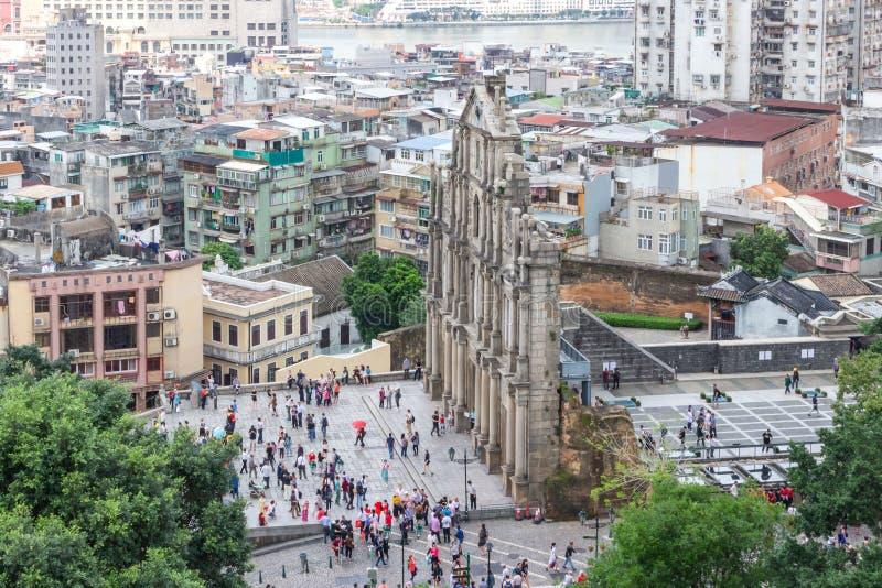 圣保罗的废墟从登上堡垒的 免版税图库摄影
