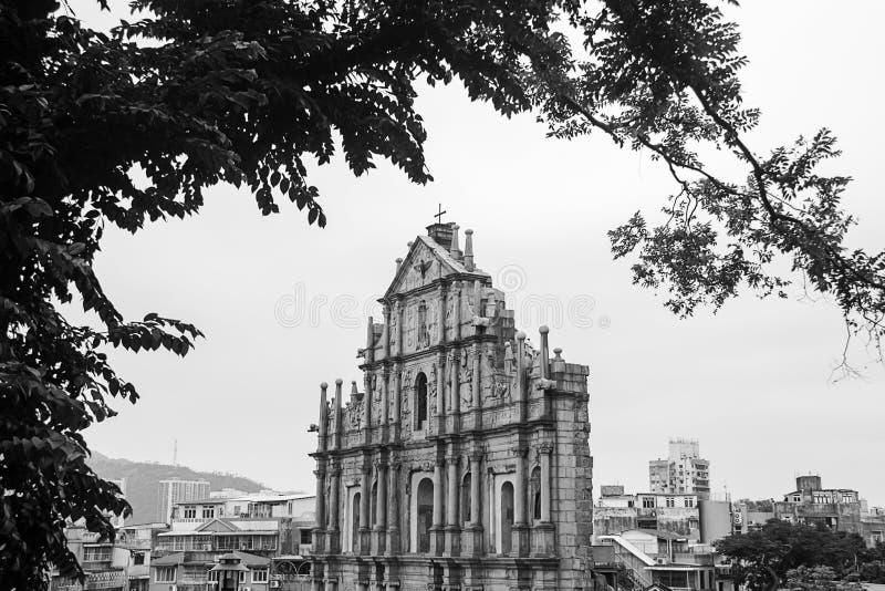 圣保罗的黑白颜色废墟  库存照片