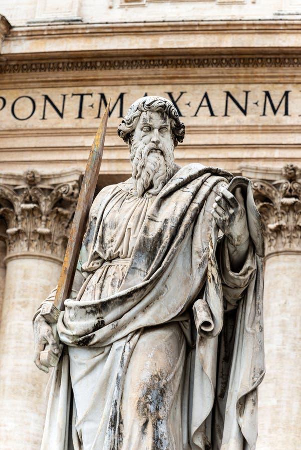 圣保罗雕象传道者-梵蒂冈罗马 免版税图库摄影