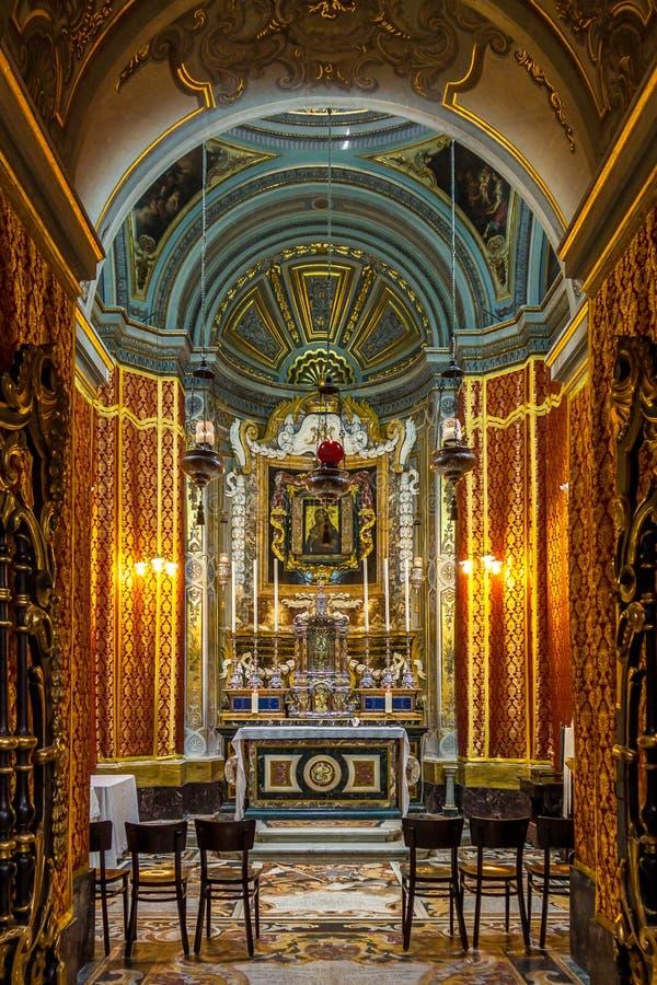圣保罗` s大教堂-姆迪纳,马耳他内部  免版税库存照片