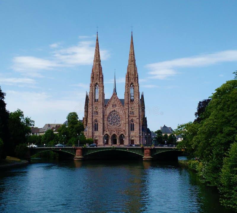 圣保罗` s教会在史特拉斯堡,法国 免版税库存图片
