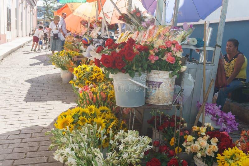 圣克拉拉,古巴, 2017年1月5日:卖在街道上开花在中央公园附近在圣克拉拉,古巴 库存图片