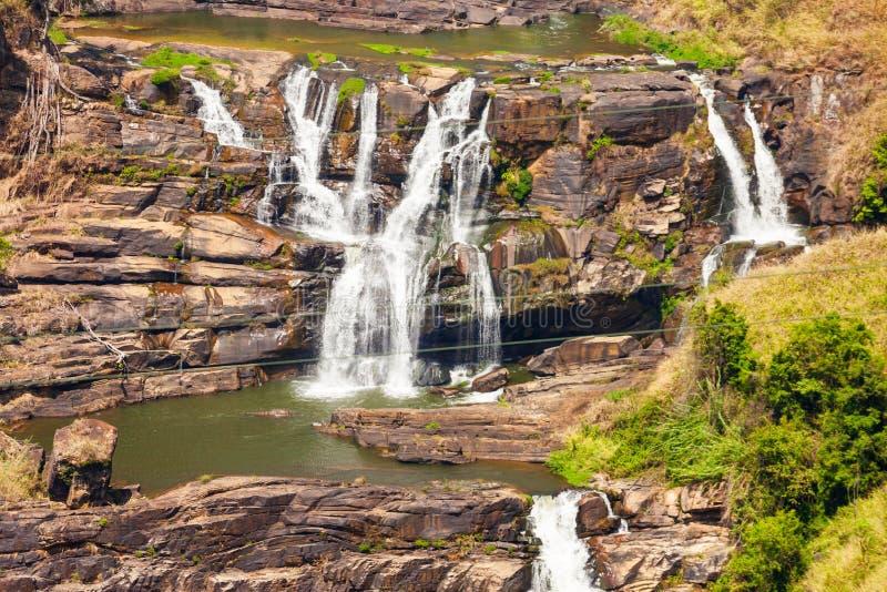 圣克莱尔瀑布,努沃勒埃利耶 免版税库存图片