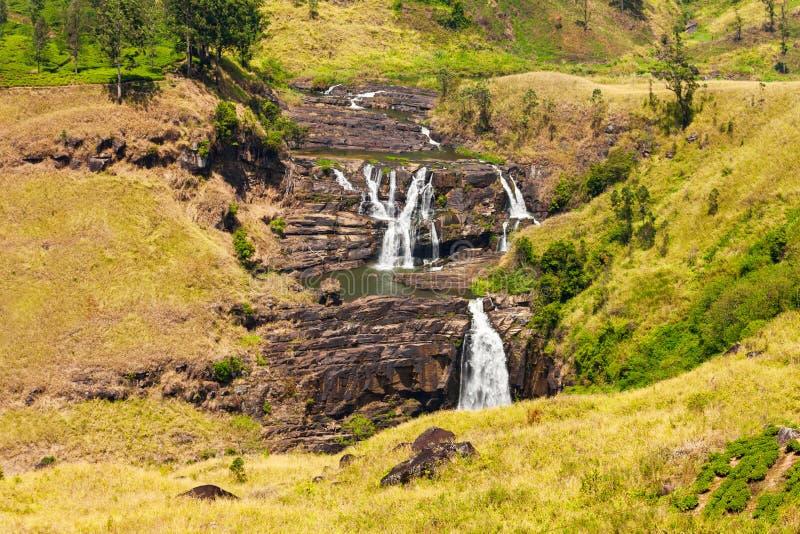 圣克莱尔瀑布,努沃勒埃利耶 免版税库存照片
